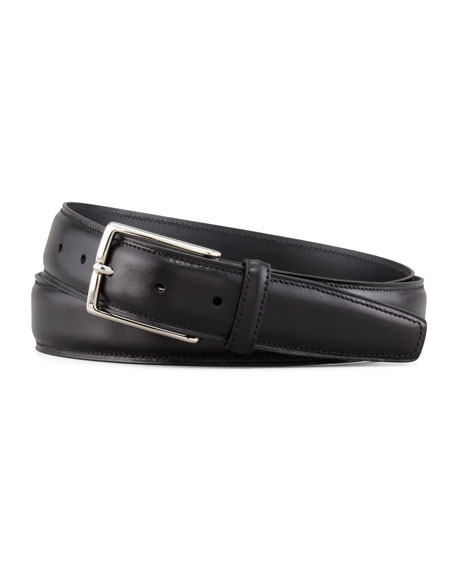 Silver Buckle Belt, Black