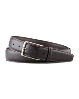 Ermenegildo Zegna Polished Leather Belt, Dark Brown