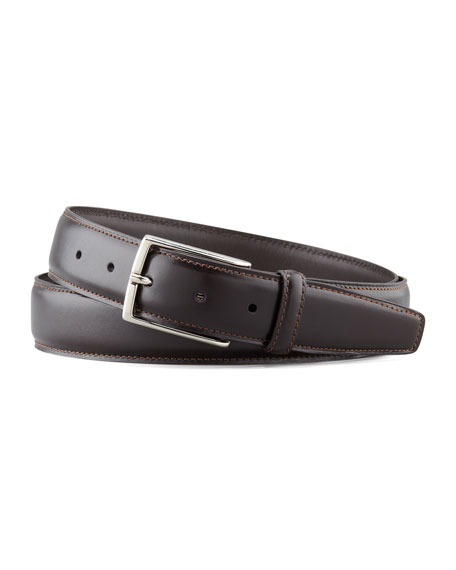 Polished Leather Belt, Dark Brown