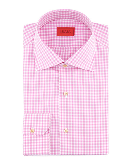 Slim-Fit Gingham Dress Shirt, Purple