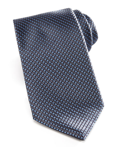 Woven Textured Grid Tie, Charcoal