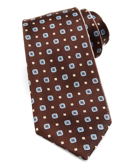 Basket-Weave-Neat Silk Tie, Brown