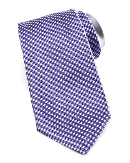 Micro-Check Silk Tie, Lavender