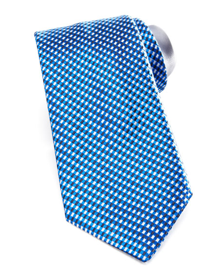 Micro-Check Silk Tie, Blue