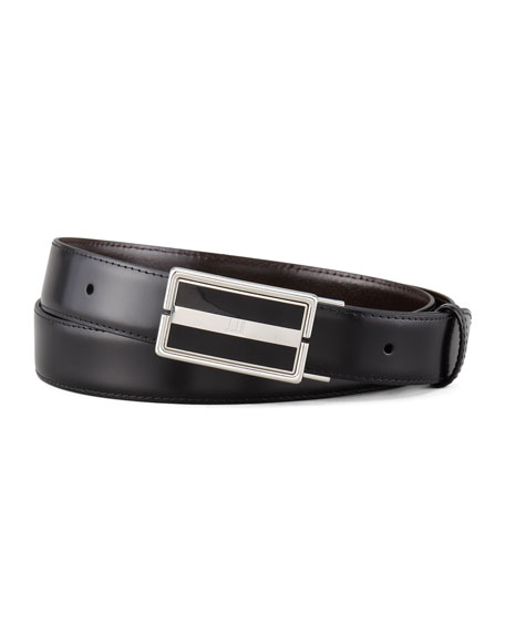 alfred dunhill reversible leather belt black brown