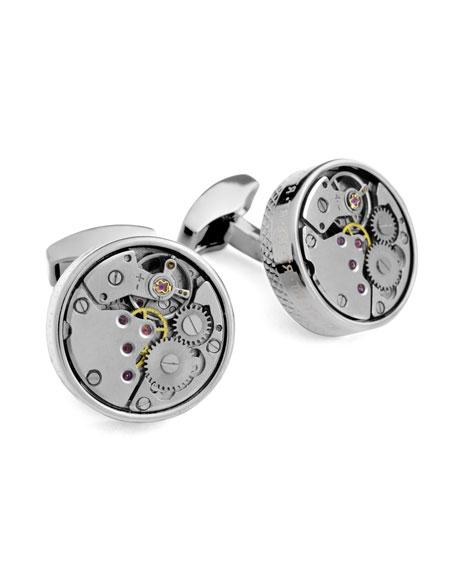 Round Mechanical Watch Gear Cuff Links