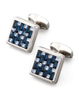 Tateossian Interlock Crystal Cuff Links, Blue
