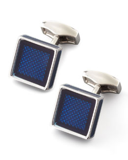 Tateossian Ice Cube Cuff Links, Blue