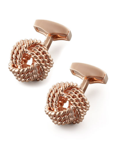 Tateossian Knot Round Cuff Links, Rose Gold