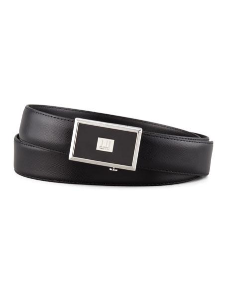 Enamel-Buckle Saffiano Belt, Black