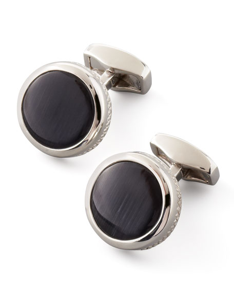 Round Fiber Optic Glass Cuff Links, Black