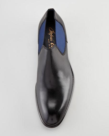 Elastic-Gored Slip-On, Black/Blue