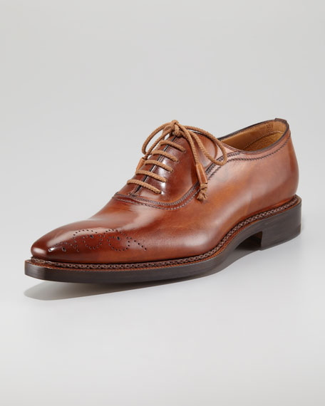 Perforated Leather Lace-Up, Cognac