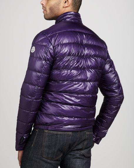 Acorus Puffer Moto Jacket, Purple