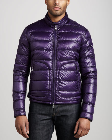 Acorus Puffer Moto Jacket, Purple