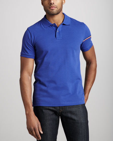 Flag-Sleeve Polo, Blue