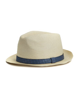 Gucci GG Band Straw Fedora, Blue