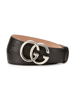 Gucci Double-G Guccissima Belt, Black