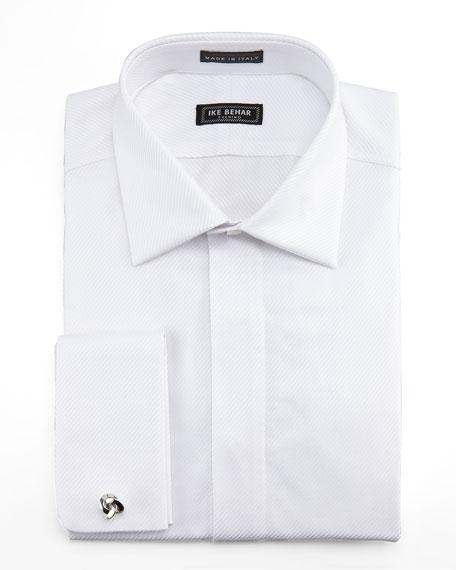 Twill Fly-Front Tuxedo Shirt