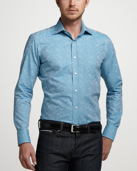 Paisley-Jacquard Sport Shirt, Mediterranean Blue