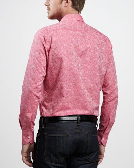 Paisley-Jacquard Sport Shirt, Raspberry