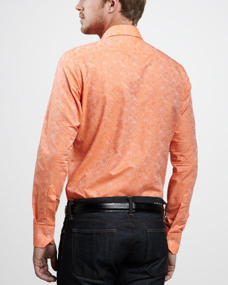 Paisley-Jacquard Sport Shirt, Orange