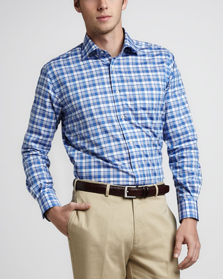 Cannes Plaid Sport Shirt, Navy