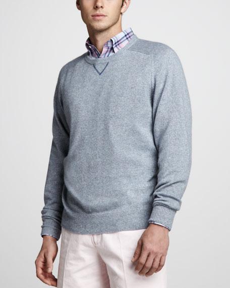 Cashmere-Linen Sweater, Ocean