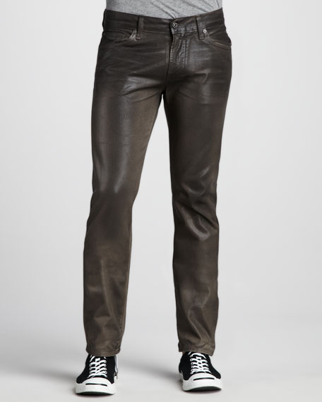 Slimmy Leather-Effect Jeans, Olive