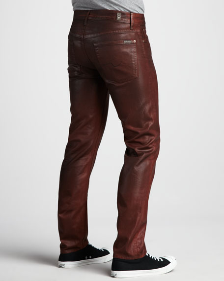 Slimmy Leather-Effect Jeans, Cognac