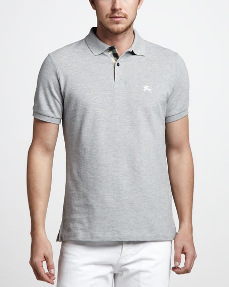 Check-Tape Pique Polo, Pale Gray Melange