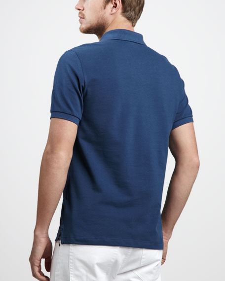 Check-Tape Pique Polo, Pale Indigo