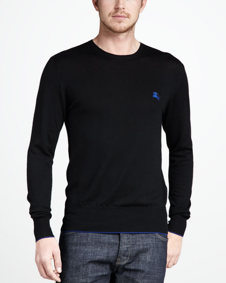 Tipped Merino Sweater, Black