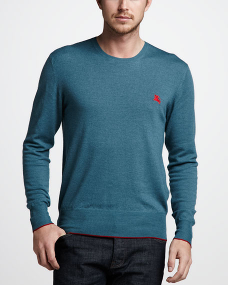 Tipped Merino Sweater, Pale Petrol Blue