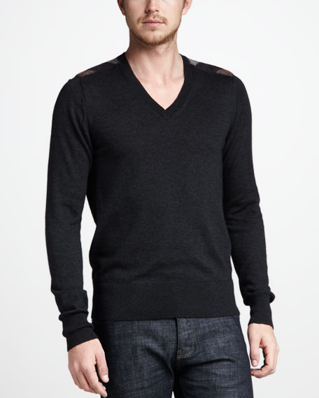 Cashmere-Cotton Sweater, Dark Gray Melange