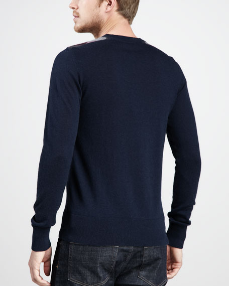 Cashmere-Cotton Sweater, Navy
