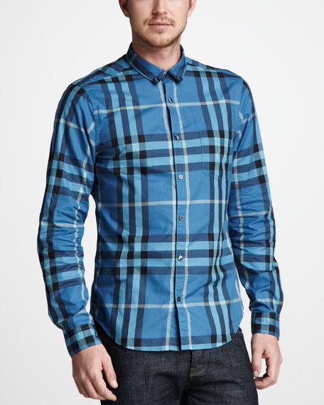 Check Button-Down Shirt, Pale Petrol Blue