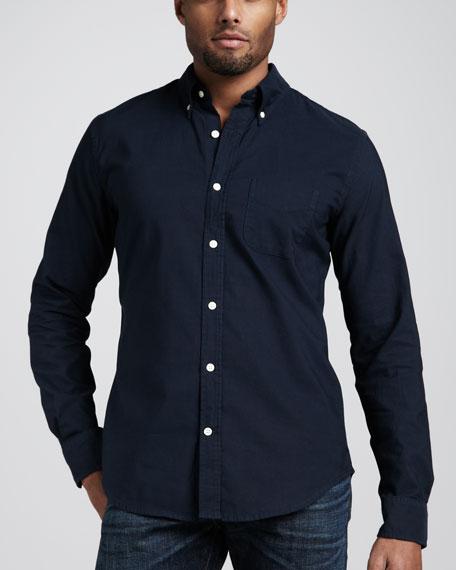 Garment-Dyed Button-Down Shirt, Navy