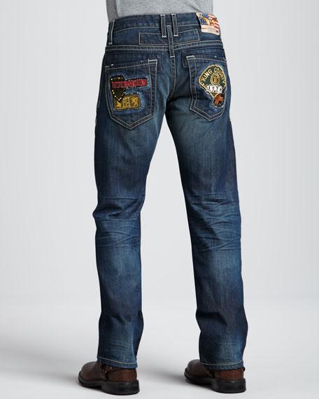 3D Flag-Patch Dark Jeans