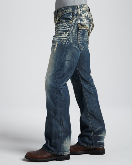 Venice Faded Flap-Pocket Jeans