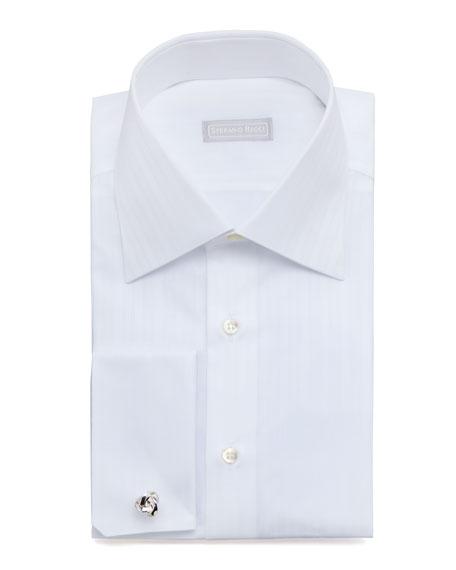 Textured-Stripe Dress Shirt, White 2