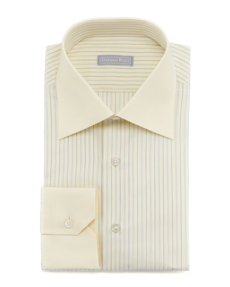 Contrast-Collar Striped Dress Shirt, Yellow 100