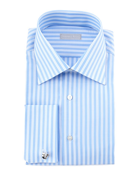 Textured-Stripe Dress Shirt, Blue 2