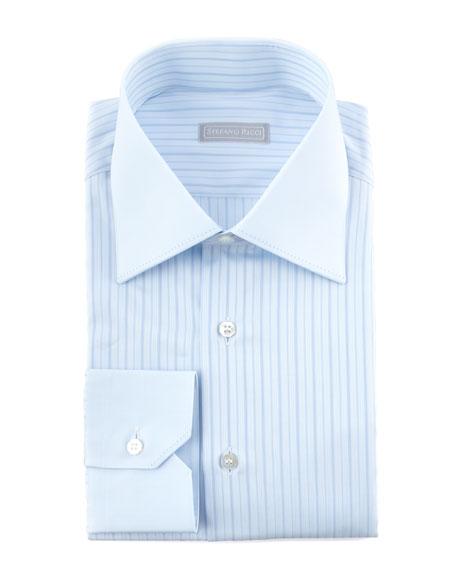 Contrast-Collar Striped Dress Shirt, Blue