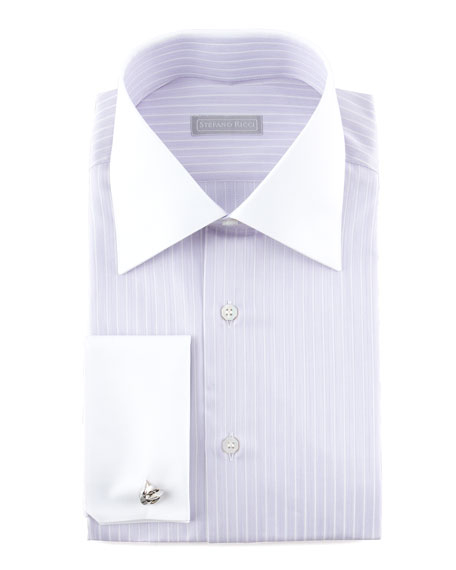 Contrast-Collar Thin Striped Dress Shirt, Lavender