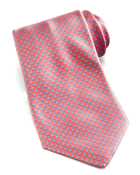 Floral-Neat Silk Tie, Coral