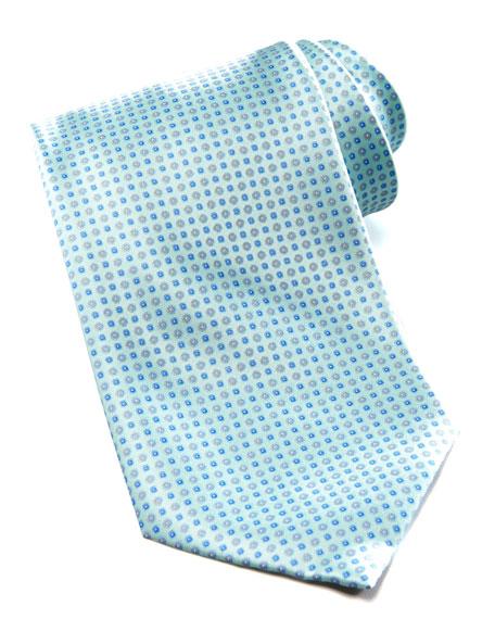 Floral-Neat Silk Tie, Mint