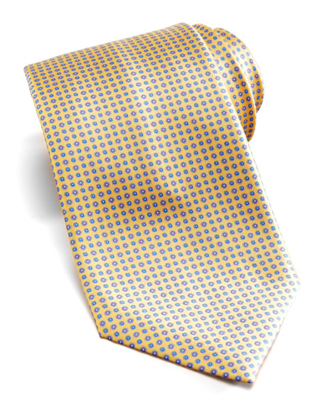 Floral-Neat Silk Tie, Yellow