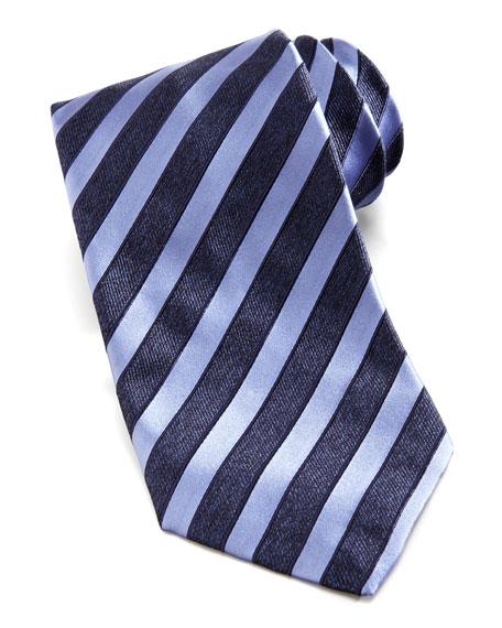 Wide-Stripe Silk Tie, Navy/Lavender