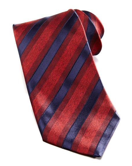 Wide Textured Stripe Silk Tie, Red